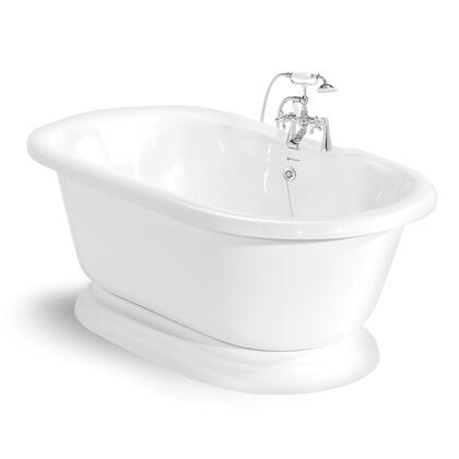 American Bath Factory T110B- Beacon Hill Round Pedestal Bathtub, 70-inch Double Ended, With 90 Series Faucet, Waste & Overflow: