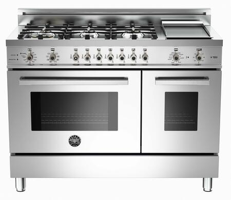 """Bertazzoni PRO486GDFSX 48"""" Professional Series Dual Fuel Freestanding Range with Sealed Burner Cooktop, 3.4 cu. ft. Primary Oven Capacity, in Stainless Steel"""