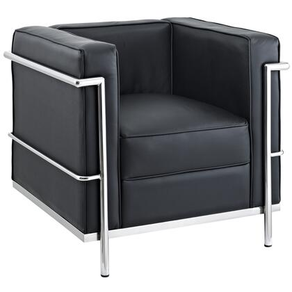 Modway EEI126BLK Charles Series Leather Armchair with Metal Frame in Black