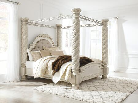 Signature Design by Ashley Cassimore Collection B750-CANOPYBED Canopy Bed with Upholstered Headboard, Faux Crystal Button Tufting, Decorative Carved Details, Metal Canopy and Molding Details in Pearl Silver