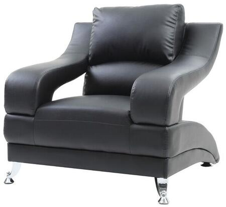 Glory Furniture G243C Faux Leather Armchair with Metal Frame in Black