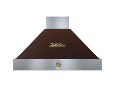 """Tecnogas Superiore HD361ACM 36"""" DECO Series Pyramid Hood With 4 Speed Settings, Stainless Steel Baffle Filters, Analog Control, And 600 CFM Maximum Aspiration Capacity: Brown With"""
