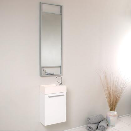 """Fresca Pulito Collection FVN8002 16"""" Small Modern Bathroom Vanity with Tall Mirror, Integrated Acrylic Sink & Countertop and Soft Closing Door in"""