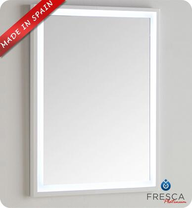 "Fresca Platinum Due FPMR78XXWH XX"" Bathroom Mirror with High Grade MDF Frame and LED Lighting with UL Certified Transformer in Glossy White"