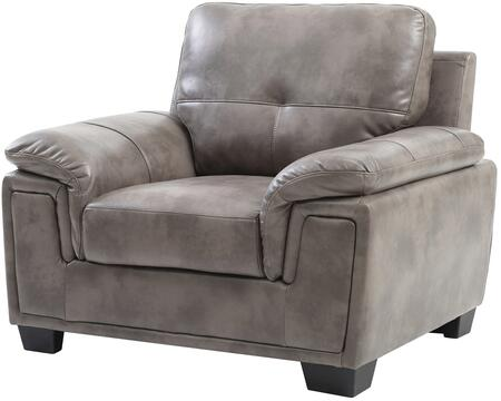 Glory Furniture G667C Faux Leather Armchair in Grey