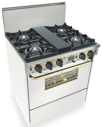 """FiveStar WTN275 30"""" Freestanding Dual Fuel Range With 4 Open Burners, 3.69 Cu. Ft. Convection Oven, Self-Cleaning, Vari-Flame Simmer On Front Burners: Natural Gas Cooktop"""