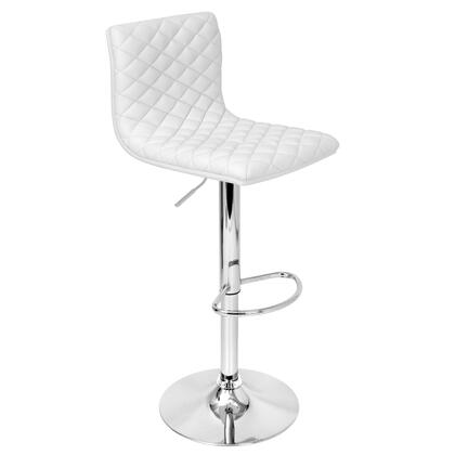 "LumiSource Caviar BS-TW-CAV 36"" - 45"" Barstool with 360-Degree Swivel, Quilted Leatherette Seat and Chrome Base in"