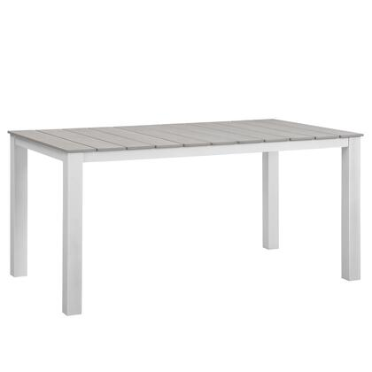 "Modway Maine Collection 63"" Outdoor Patio Dining Table with Solid Grey Polywood Slats, Wooden Plank Boards, Powder Coated Aluminum Frame and Plastic Base Glides in"
