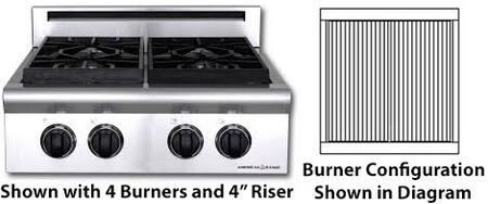"""American Range ARSCT-24X2GR 24"""" Legend Series Slide-In Gas Rangetop with 22"""" Char-Grill, Automatic Electronic Ignition, Analog Controls and Blue LED Light Indicator, in Stainless Steel:"""