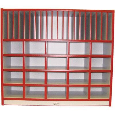 Mahar M60300 15 Opening Cubbie Unit With Letter Slots without Trays in Maple Finish with Edge Color