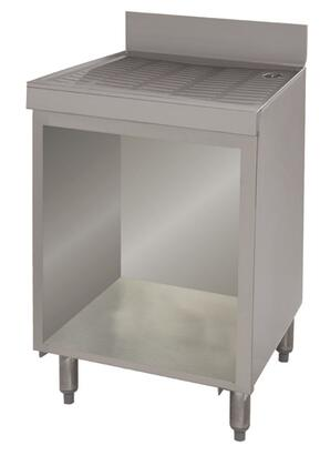"""Advance Tabco CRD-2B Underbar Drainboard with 4"""" Backsplash, Adjustable Bullet Feet and Cabinet Base in Stainless Steel"""