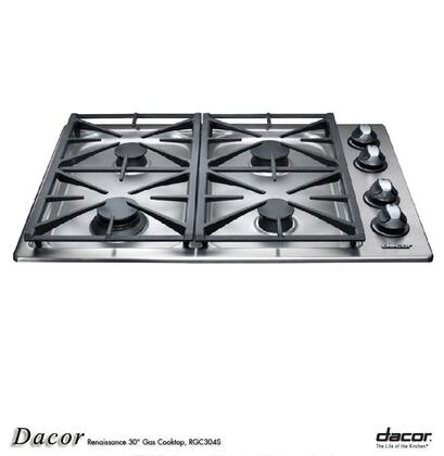 Dacor RGC304SNGH Renaissance Series Natural Gas Sealed Burner Style Cooktop, in Stainless Steel