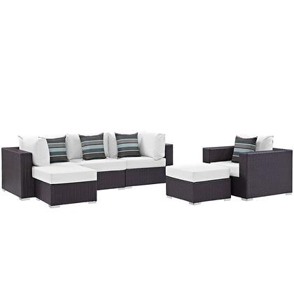 Modway Convene Collection 6 PC Outdoor Patio Sectional Set with Synthetic Rattan Weave Material, Powder Coated Aluminum Frame, Water and UV Resistant   in Espresso Color