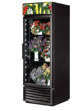True GDM-23FC 23 Cu. Ft. Refrigerator Floral Case with LED Lighting, and Thermal Insulated Glass Swing-Doors in Black