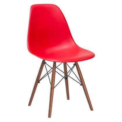 EdgeMod EM105WALRED Vortex Series Modern Wood Frame Dining Room Chair