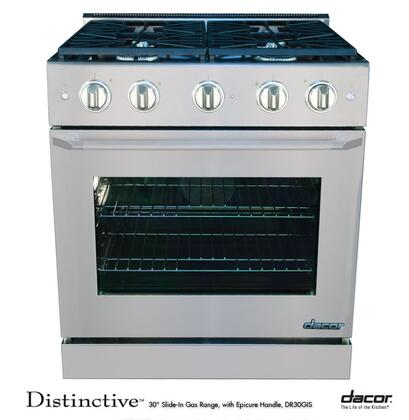 "Dacor DR30GISLP 30"" Distinctive Series Slide-in Gas Range with Sealed Burner Cooktop, 4.8 cu. ft. Primary Oven Capacity, in Stainless Steel"
