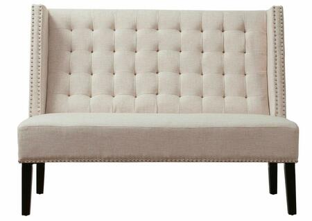 TOV Furniture Halifax TOV63114 Linen Banquette Bench with Button Tufted Back, Black Stained Legs and Hand-Applied Silver Nail Head Trim