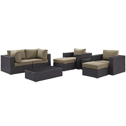 Modway Convene Collection EEI-2206- 8-Piece Outdoor Patio Sectional Set with 2 Corner Sections, 2 Armchairs, 2 Ottoman, Side Table and Coffee Table in Espresso and