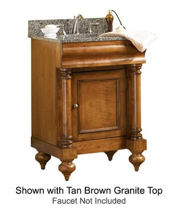"Kaco Guild Hall Collection 725-2400-P 24"" Single Sink Vanity with Adjustable Shelf, 1 Door and Removable Drawer in Warm Pecan Finish with Granite Top"