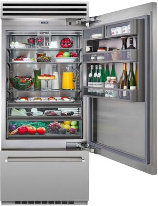 "BlueStar BBB36x2 36"" Built In Bottom Freezer Refrigerator with Stainless Steel Interior, Dual Compressors, Ice Maker, LED Lighting and OLED Touchscreen Control"