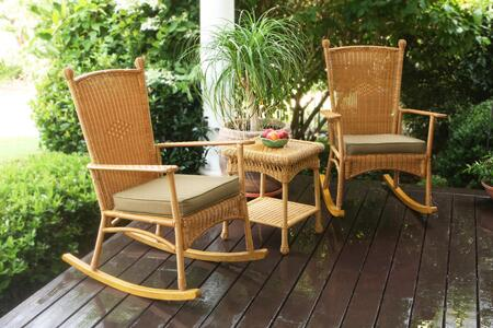 Tortuga PSR2-C Portside Classic Rocker Set With All-Weather Wicker, 2 Classic Rocking Chairs, 1 End Table & In