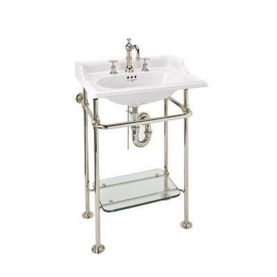 Rohl RW2231 Finished Brass Washstand with Glass Shelf: