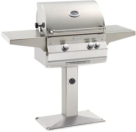 """FireMagic A430S5LAxP6 56"""" Patio Post Mount Grill With 432 sq. Inches Cooking Surface, 192 sq. Inches Warming Rack Surface, Left Infrared Searing Burner, 50000 BTU Main Burner, Hot Surface Ignition, Analog Thermometer, in Stainless Steel"""