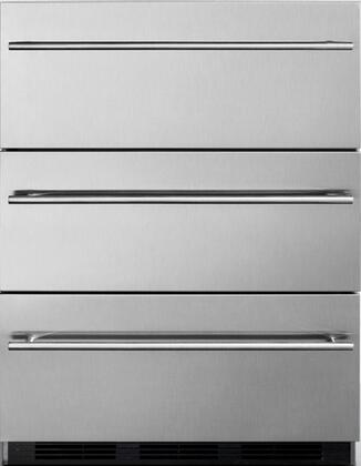 """Summit SP6DSSTBOS7THINx 24"""" Commercial Outdoor 3 Drawer Refrigerator with 5.4 cu. ft. Capacity, Automatic Defrost, Magnetic Gaskets and Weatherproof Design, in Stainless Steel"""