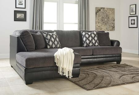 Benchcraft Kumasi 32202SEC2PC Sectional Sofa with X Arm Facing Sofa and X Arm Facing Corner Chaise in Black