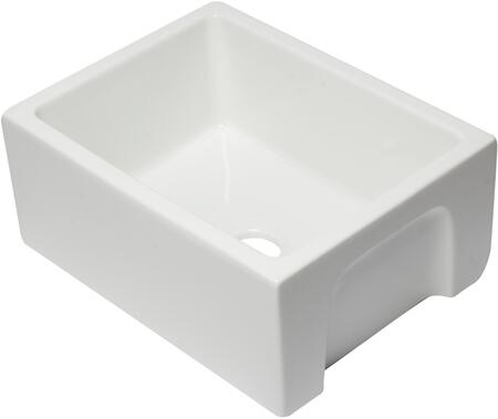 "Alfi AB2418HS-X 24"" Reversible Smooth / Fluted Single Bowl Fireclay Farm Sink in"