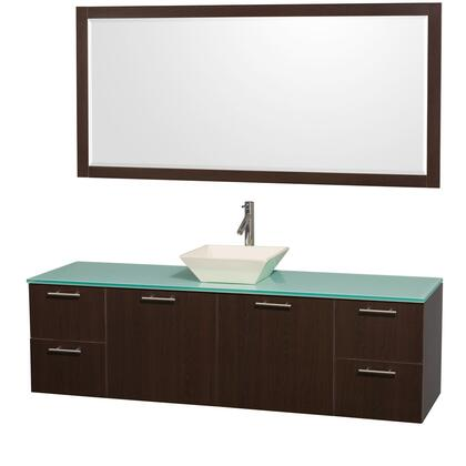 "Wyndham Collection WC-R410072-SN Amare 72"" Wall-Mounted Single Bathroom Vanity with Top, Vessel Sink, Matching Mirror, 2 Doors and 4 Drawers in"