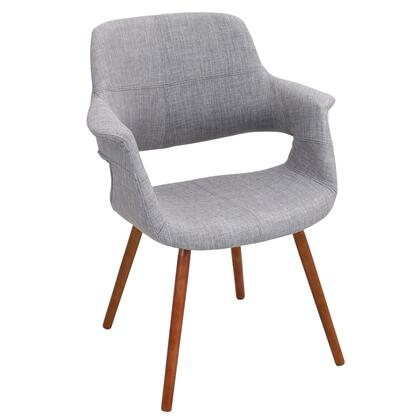 "LumiSource Vintage Flair CHR-JY-VFL 23"" Chair with Fabric Upholstery, Walnut Wood Legs and Flared Arms in"