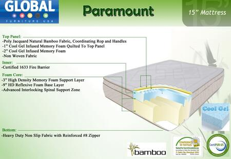 """Global Furniture USA B1555MF Paramount 15"""" High x Size Mattress with Cool Gel Infused Memory Foam"""