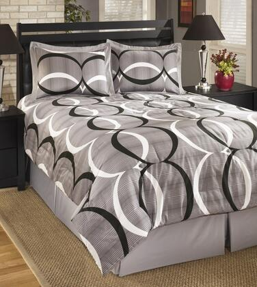 Signature Design by Ashley Primo Q193004 4 PC Size Top of Bed Set Includes 1 Comforter, 2 Shams and 1 Bedskirt with Geometric Design and Cotton Material in Alloy Color