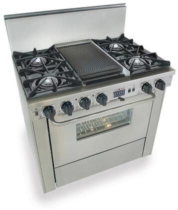 """FiveStar TPN3257BW 36"""" Dual Fuel Freestanding Range with Open Burner Cooktop, 3.69 cu. ft. Primary Oven Capacity, in Stainless Steel"""