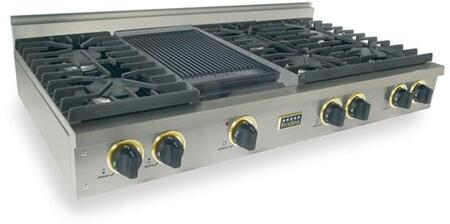 """FiveStar TPN0477 48"""" Sealed Burner Pro-Style LP Gas Rangetop With 6 Sealed Ultra High-Low Burners, Double Sided Grill/Griddle, Porcelain-Covered Cast Iron Burner Grates, In"""