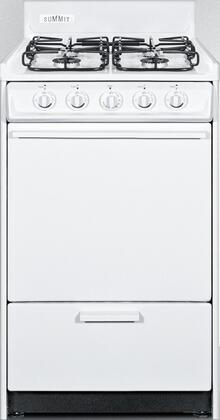 """Summit WTM1107Sx 20"""" Gas Range with 4 Sealed Burners, 2.46 cu. ft. Oven Capacity, Porcelain Construction, Electronic Ignition and 2 Oven Racks, in White"""