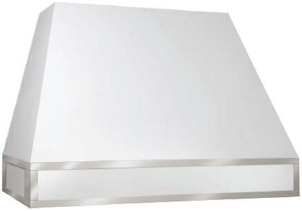Vent-A-Hood JPH4 Designer Series Wall Mounted Hood with 600 CFM, 6.5 Sones Sound Level, Magic Lung Blower and 4 LED Lights, in White Finish with Mirrored Stainless Trim