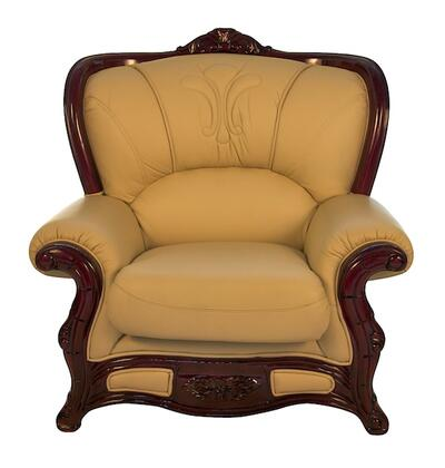 J. Horn 989IVORYC 989 Series Leather Armchair with Wood Frame in Ivory