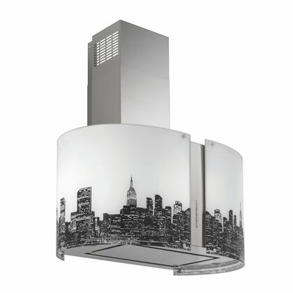Futuro Futuro ISMURMETROLED Murano Metro Island Mount Chimney Style Range Hood with LED Lights, 940 CFM Internal Blower, Dishwasher-safe Mesh Filter, and Delay Shut-Off Timer, in Stainless Steel