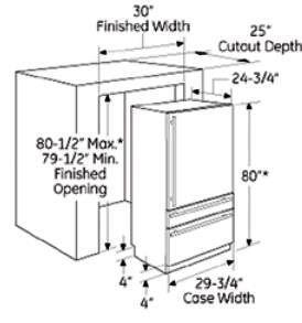 Ge Monogram Zik30gnzii Bottom Freezer Refrigerator With 14