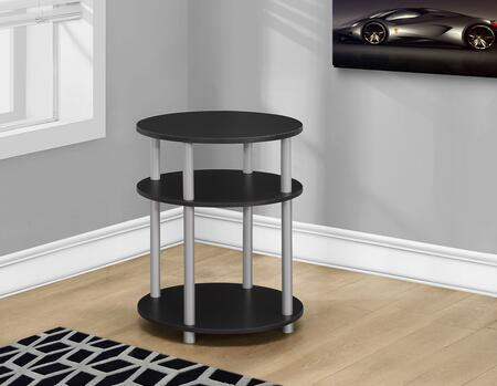 "Monarch I 313X 19"" Contemporary Style Accent Table with Three 19"" Diameter Shelves and Tube Legs"