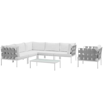 Modway Harmony Collection EEI-2620-WHI- 7-Piece Outdoor Patio Aluminum Sectional Sofa Set with Armchair, Coffee Table, 3 Corner Sofas and 2 Armless Chairs in