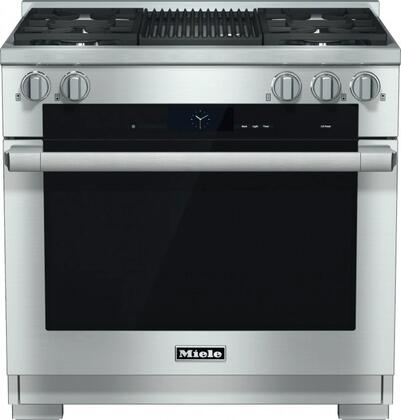 """Miele HR1935DFG 36"""" Pro-Style Dual Fuel Range with 5.8 cu. ft., 4 Sealed M Pro Dual Stacked Burners, TwinPower Convection Fan Oven, Self-Clean, 21 Operating Modes, M Pro Grill, and Wireless Roast Probe in"""