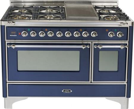 "Ilve UM120FMPBLX 48"" Majestic Series Dual Fuel Freestanding Range with Sealed Burner Cooktop, 2.8 cu. ft. Primary Oven Capacity, Warming in Midnight Blue"