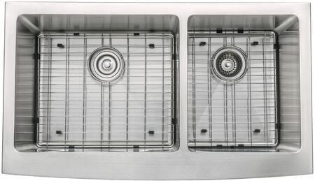 """Kraus KHF20336KPF1622KSD30 Precision Series 36"""" Apron Front 60/40 Double-Bowl Kitchen Sink with Stainless Steel Construction, NoiseDefend, and Included Pull-Down Kitchen Faucet"""