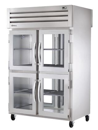 True STG2RPT-4HG Spec Series Two-Section Pass-Thru Refrigerator with 56 Cu. Ft. Capacity, LED Lighting and Glass Half Front and Rear Swing-Doors