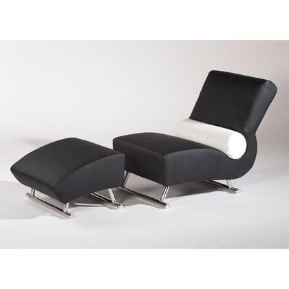 Chintaly DEVILLE Series Contemporary Leather Chaise Lounge