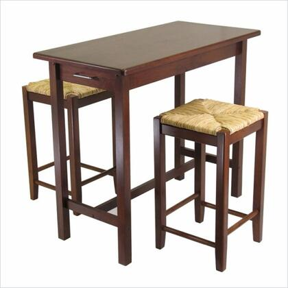 Winsome 94Isl 3pc Kitchen Island Table with 2 Stools in Antique Walnut
