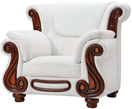 Glory Furniture G827C Faux Leather Armchair with Wood Frame in White